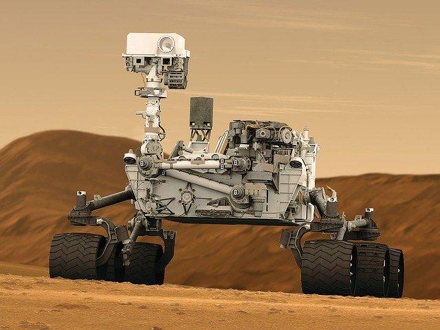 Rover Curiosity Exploring Martian Surface