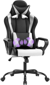 Best Gaming Chairs 2021  Gaming Chair Office Chair Racing Chair with Lumbar Support Arms Headrest High Back PU Leather Ergonomic Desk Chair Rolling Swivel Adjustable PC Computer Chair for Women Adults Girls (White)