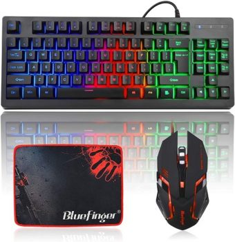Gaming Keyboards BlueFinger Rainbow Mouse Combo Gaming Keyboard