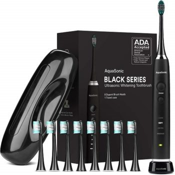 Top Fifty Gadgets AquaSonic Black Series Ultra Whitening Toothbrush – ADA Accepted Rechargeable Toothbrush - 8 Brush Heads & Travel Case - Ultra Sonic Motor & Wireless Charging