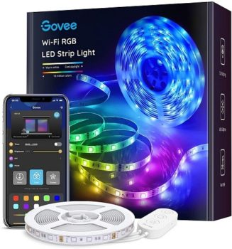 Top Fifty Gadgets Govee Smart LED Strip Lights, 16.4ft Wi-Fi LED Lights Work with Alexa and Google Assistant, Bright 5050 LEDs, 16 Million Colors with App Control and Music Sync