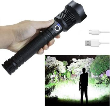 Top Fifty Gadgets Rechargeable Flashlights High Lumens, 90000 Lumens Super Bright Led Flashlight with Batteries Included, Zoomable, 3 Modes, Waterproof Tactical Flashlight for Camping, Emergencies