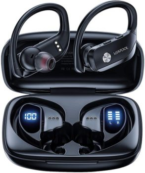 Top Fifty Gadgets VEATOOL Bluetooth 48hrs Playtime Sport Earphones with LED Display For Running Workout