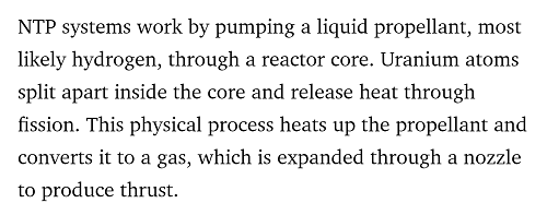 Nuclear Thermal Rocket Statement DaRPA