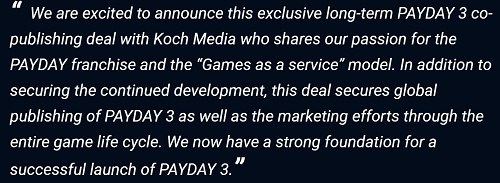 Payday 3 Statement